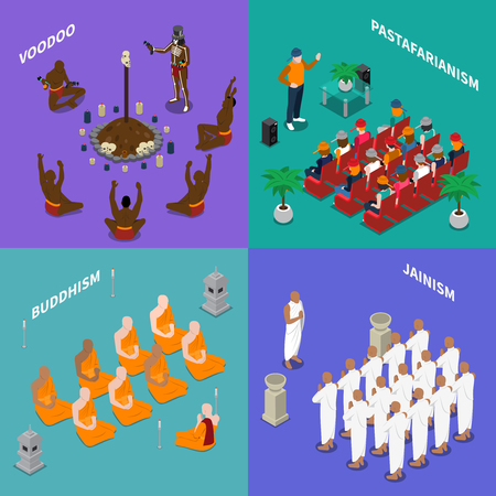 Isometric concept with people from religion buddhism, jainism, rastafarianism, voodoo during ritual or sermon isolated vector illustration