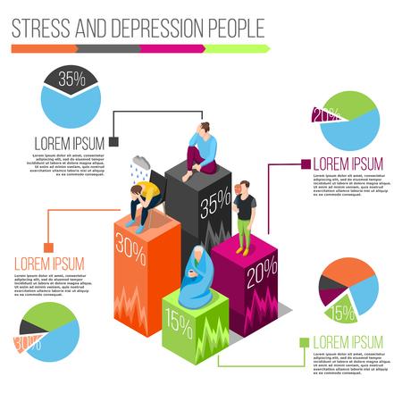 차트 및 정보 흰색 배경 벡터 일러스트 레이 션에 신경 질환에 대 한 정보를 스트레스 사람들 아이소 메트릭 infographics 일러스트