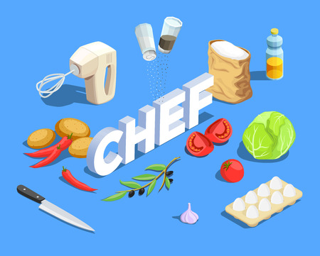 Professional cooking people chef pizzaiolo isometric people composition with cumbersome text and pieces of ripe vegetables vector illustration