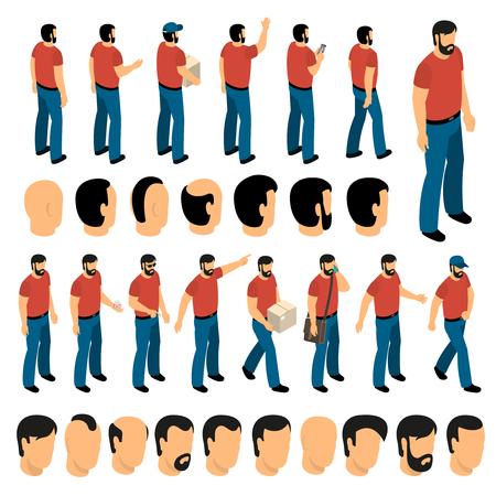 Ensemble de création de personnages de l'homme et différents types de coiffure pour créer animation illustration vectorielle isolé Banque d'images - 88554934