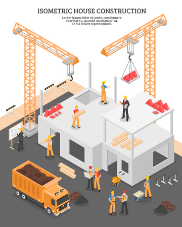 Isometric building composition with view of construction site with images of stationary hoists and incomplete house vector illustration