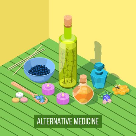 Alternatieve geneeskunde isometrische compositie met elementen van homeopathie apitherapy acupunctuur fytotherapie aromatherapie genezing vectorillustratie Stock Illustratie