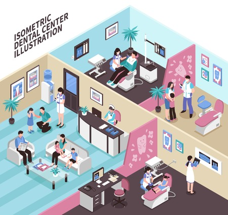 Dental center isometric vector illustration  with adult and kid patients and stomatology equipment in clinic interiors