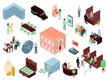 Set of isometric bank elements with staff and clients in office, online service, building isolated vector illustration