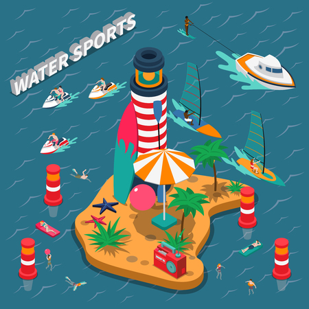 Colored water sports isometric people composition with equipped beach on a wild island with a lighthouse vector illustration Illustration