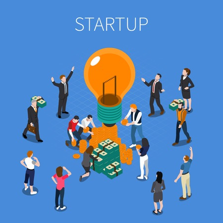 Ico for startup isometric composition including persons with creative idea, investment, cryptocurrency on blue background vector illustration
