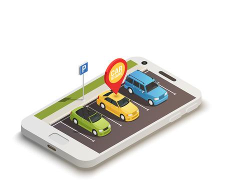 Abstraktes Konzept des Entwurfes auf Carsharing-Thema mit der Autostation, die auf Smartphone-Bildschirm und Auto gelegen ist, teilte isometrische Vektorillustration des Stiftes mit Vektorgrafik