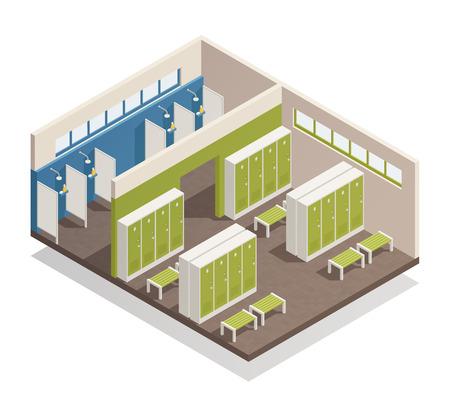 Piscina que cambia el vestuario con los bancos de las cabinas de la ducha y los armarios de almacenamiento interior composición isométrica ilustración vectorial