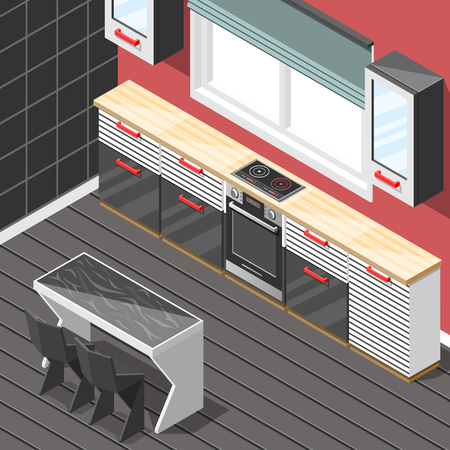 Kitchen futuristic interior hi-tech design with stripes on furniture as decor isometric background vector illustration Reklamní fotografie - 88550679