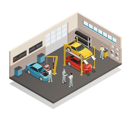 자동차 수리 유지 보수 자동 서비스 센터 차고 역학 테스트 리프팅 자동차 벡터 일러스트 레이션과 내부