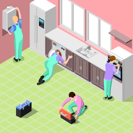 Service centre isometric background with employees in office or home interior performing installation and adjusting of household appliances isometric vector illustration