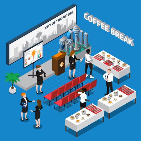 음료 및 테이블 벡터 일러스트 레이 션에 간식 강당에서 사업 사람들을 포함 하여 커피 나누기 아이소 메트릭 컴포지션