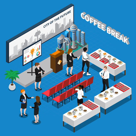 Coffee break isometric composition including business people in auditorium with drinks and snacks on tables vector illustration Фото со стока - 88550682