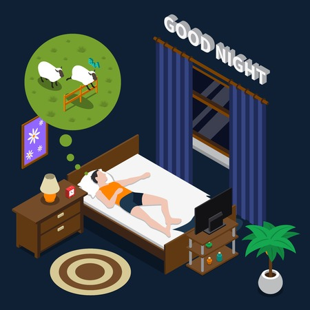 Good night isometric composition on dark background with lying man doing counting sheep in bed vector illustration