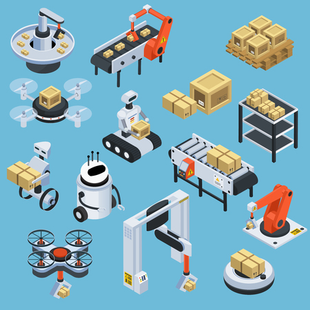 Automatic logistics technology solution and delivery service with drones isometric icons collection blue background isolated vector illustration