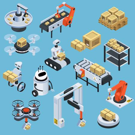 Solución de tecnología de logística automática y servicio de entrega con el fondo azul de colección de iconos de isométricos de drones aislado ilustración vectorial
