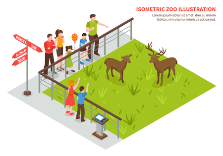Isometric zoo composition with editable text and images of deers on lawn adult visitors and children vector illustration