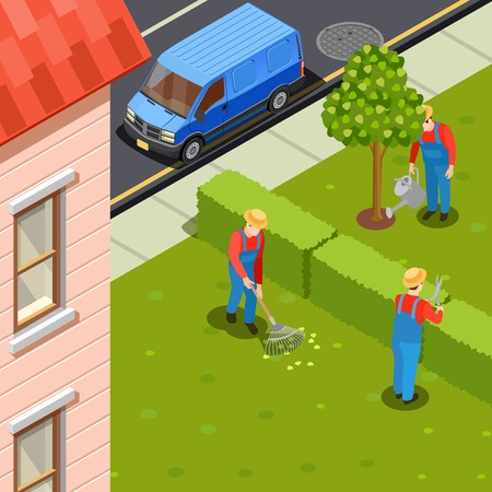 Gardener isometric composition with urban scenery and residential building with car and group of gardeners in uniform vector illustration Stok Fotoğraf - 88550687