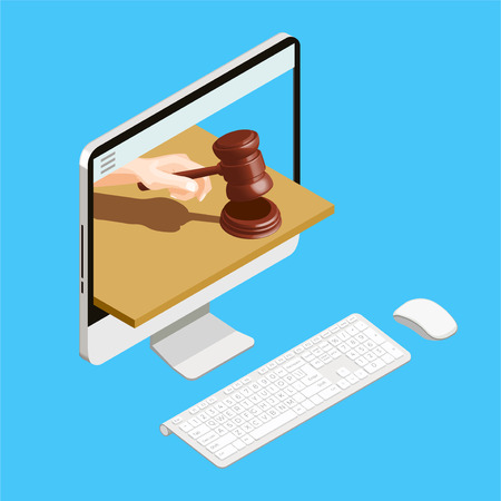 Auction isometric conceptual composition with desktop computer and human hand with hammer in display screen vector illustration Ilustração