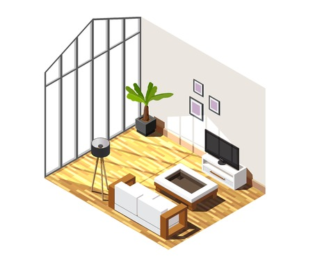 Living room interior with large window, white furniture on parquet, pictures on wall isometric composition vector illustration