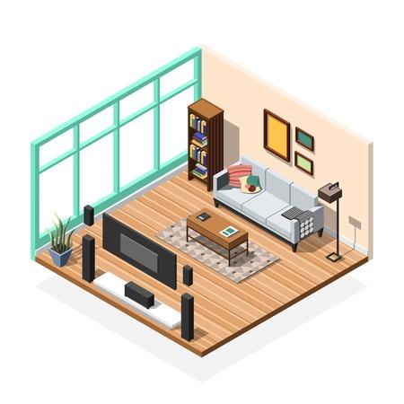 家具ルーム ソファ テレビ ブック キャビネットと床から天井までの窓ベクトル イラスト等尺性の内部構成