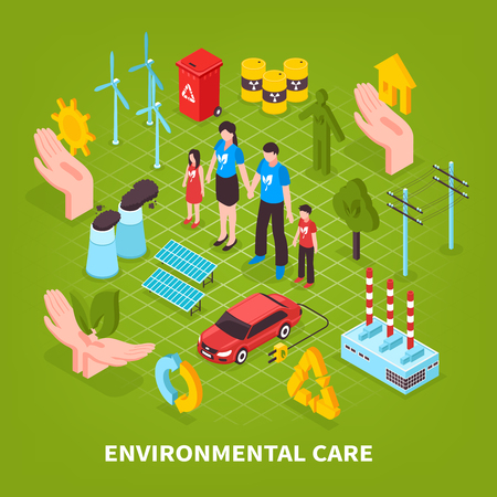 Environmental care green background with eco signs garbage cans incinerator  electromobile icons isometric vector illustration Illustration