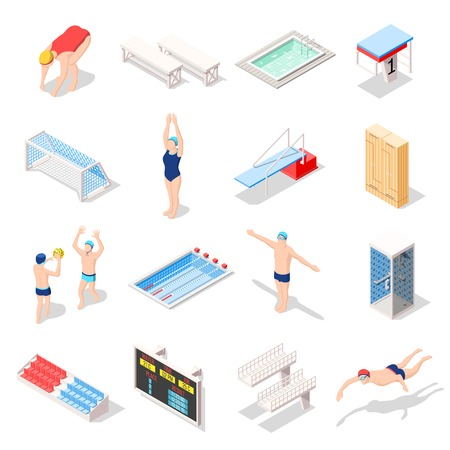 Sport swimming pool set of isometric icons with athletes, diving boards, tribunes, lockers, shower isolated vector illustration