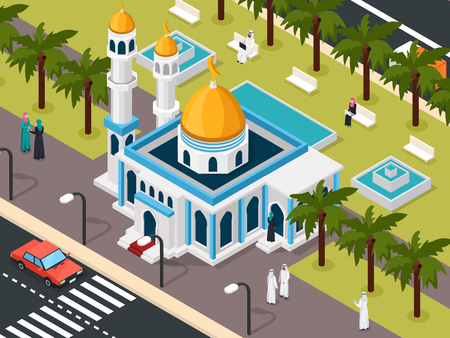 Arab mosque, isometric composition with roadway and park vector illustration.