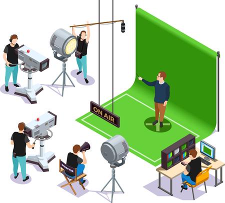 Operadores tirando actor sobre fondo verde y director dando instrucciones cinematografía composición isométrica ilustración vectorial 3d