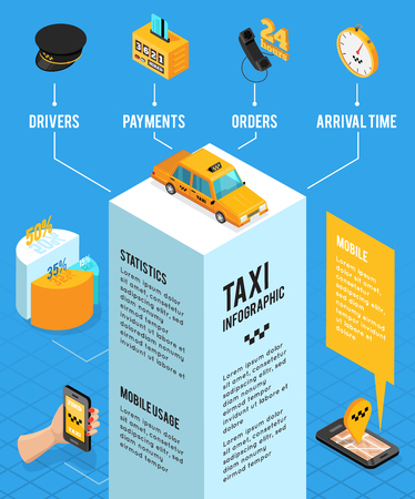 Taxi service isometric infographics layout with information about drivers payments orders arrival time and mobile usage vector illustration Illustration