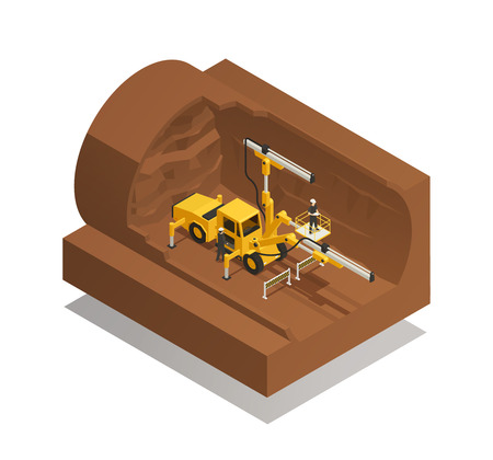 Preparation process for tunnel construction on white background. Isometric composition, vector illustration.