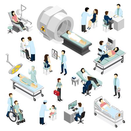 Los médicos y los pacientes en los iconos isométricos de la clínica fijados con el equipo médico moderno de diagnóstico y cirugía aislaron la ilustración del vector Ilustración de vector
