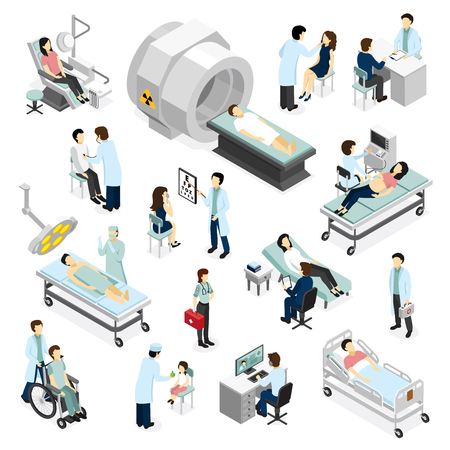 Doctors and patients in clinic isometric icons set with modern medical diagnostic and surgery equipment isolated vector illustration