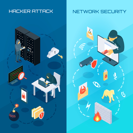 Set of vertical isometric banners with hacker attack and network security on blue background.