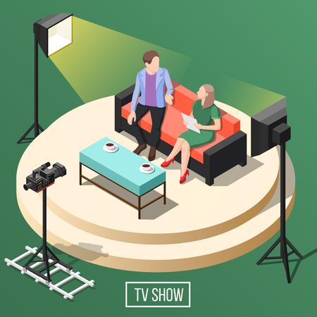 TV show studio con el presentador con el visitante en el sofá, equipo de video en la ilustración de vector isométrica de fondo verde