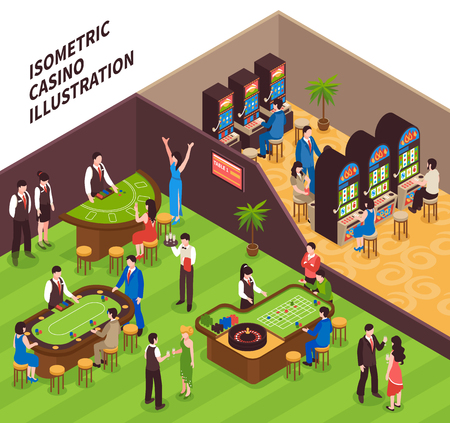 Casino isometric vector illustration with game halls equipment and people coming to play gambling games.