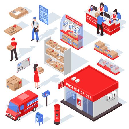 Postdienst isometrische set met postbode ontvanger en correspondentie vectorillustratie. Stock Illustratie