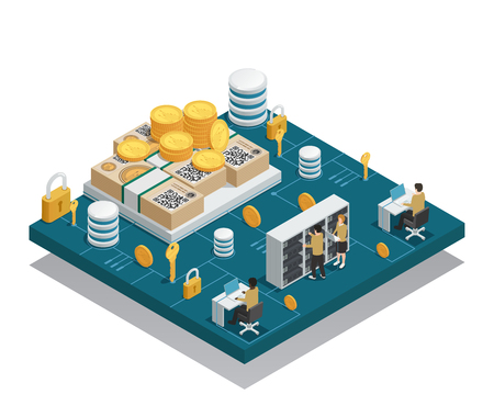 Cryptocurrency and blockchain isometric composition on blue platform with integrated circuit and miners near equipment vector illustration Illustration
