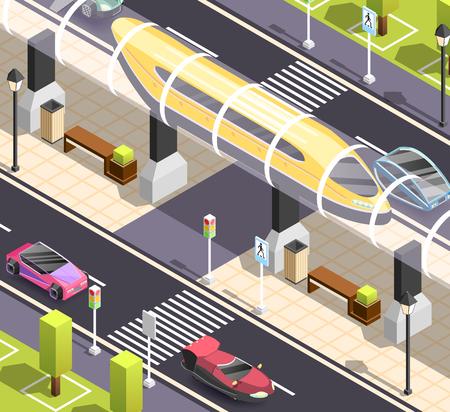 未来都市のコンス トラクターです。等尺性の背景に道路歩道車、高速路面電車。