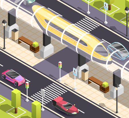 Futuristic city constructor. Isometric background with road sidewalk cars and high speed tram.