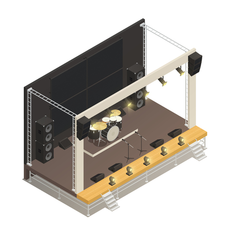 Costruzione a traliccio di palcoscenici all'aperto con potenti amplificatori audio e batteria. Concetto di design isometrico, illustrazione vettoriale.