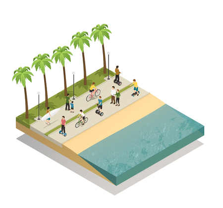 Eco transport on a beach design concept with moving people along waterfront illustration.