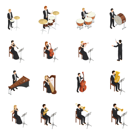 Isometric set of male and female people in costumes and gowns playing various musical instruments.
