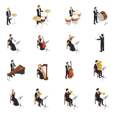 Izometryczny zestaw mężczyzn i kobiet w strojach i sukniach grających na różnych instrumentach muzycznych.