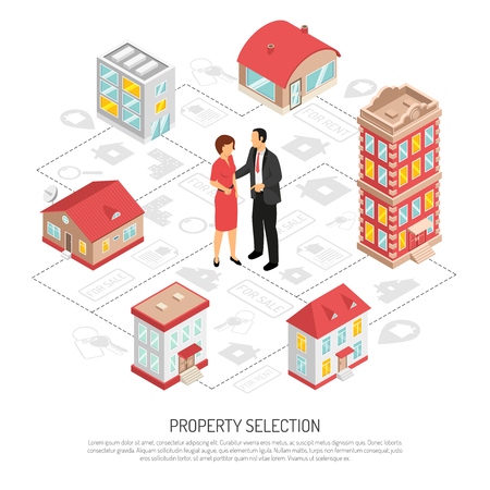 다양 한 유형의 속성 벡터 일러스트 레이 션을 제공하는 부동산 소개업자와 부동산 기관 아이소 메트릭 순서도