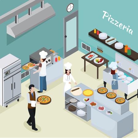 Fondo interior de la instalación de la cocina comercial de la pizzería con mini horno del horno del transportador y camarero que sirve la ilustración del vector de la pizza