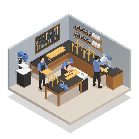 大工仕事のベクトル図に従事する職場の職人とアトリエ等尺性組成の職人の人々