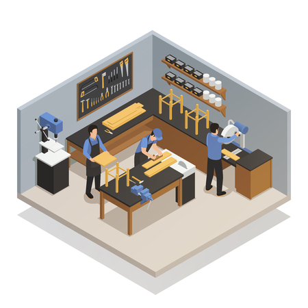 Craftsman people in atelier isometric composition with artisans at workplace engaged in carpenter work vector illustration