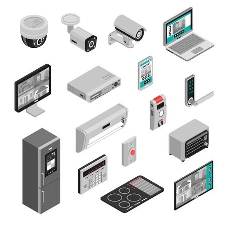 Isométrico conjunto de cozinha de casa inteligente e eletrodomésticos isolados no fundo branco ilustração em vetor 3d Ilustración de vector
