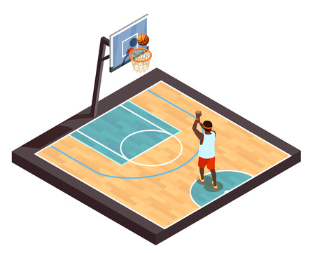 Basketball isometric betting online composition with training basketball court and one player with ball and hoop vector illustration